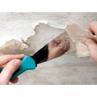Очистка потолка после обоев