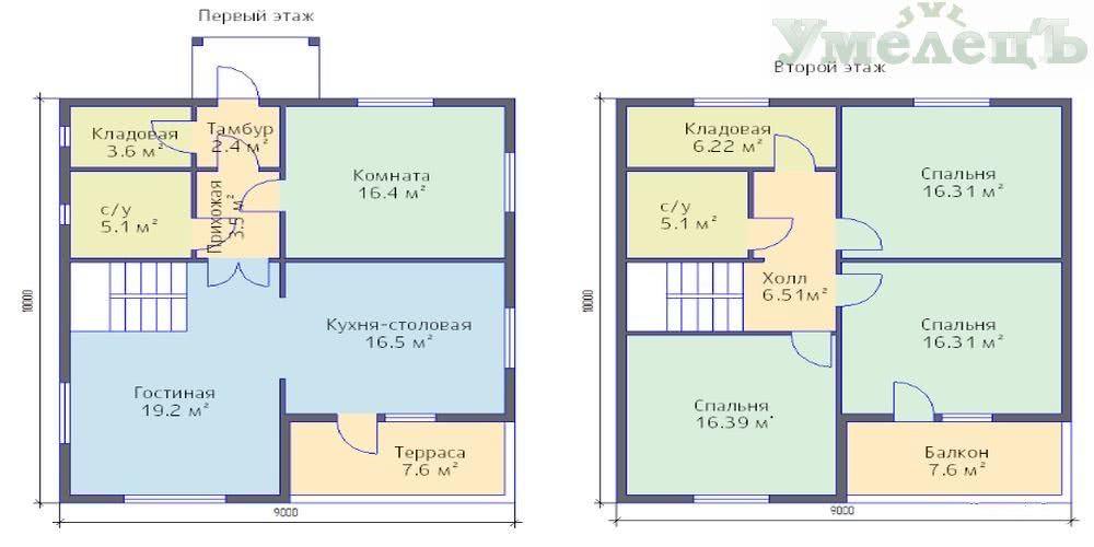 План 2-х этажного дома